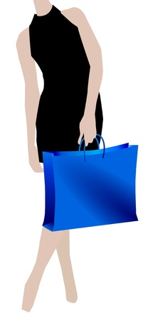 Woman during shopping on white background