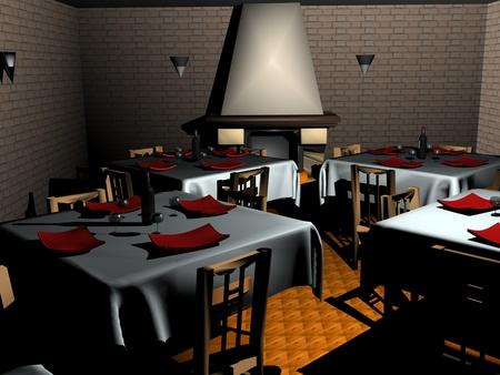 3D rendering of interior of restaurant Stock Photo - 11240482