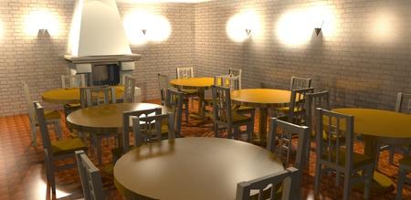 3D rendering of interior of restaurant photo