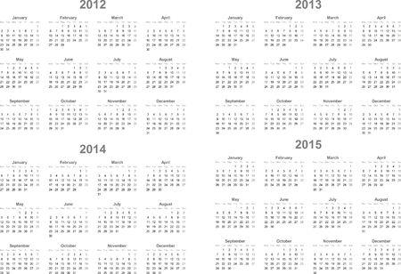 2012-2016 vector calendar