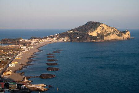 capo: Southern Italy-Campania-Naples-landscape of Miliscola beach and Capo Miseno Stock Photo