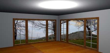 Empty room-3D rendering photo