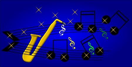 pentagramma musicale: Musica e sax Vettoriali