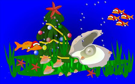 marine scene: christmas marine scene Illustration