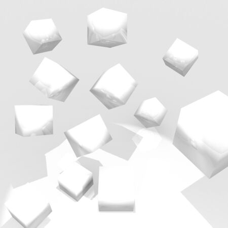 sharpness: Cubes of ceramic material on white background