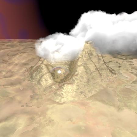 desolated landscape of alien planet photo