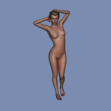 3d nude: Nude 3d rendered female model Stock Photo