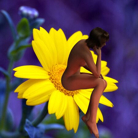 beautiful woman on yellow flower Imagens