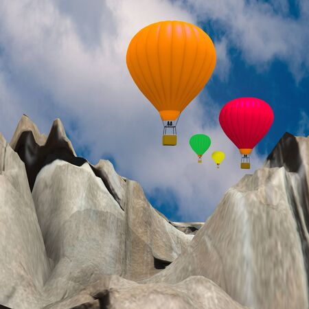 ballooning beyond the mountains Stock Photo