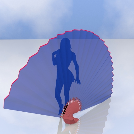 silhouette of a woman behind a giant fan Stock Photo - 14480487
