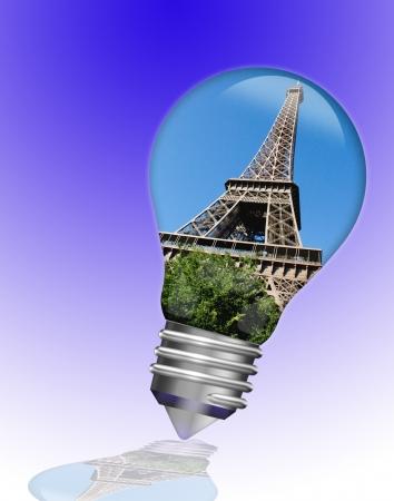 Paris Eiffel Tower in a light bulb