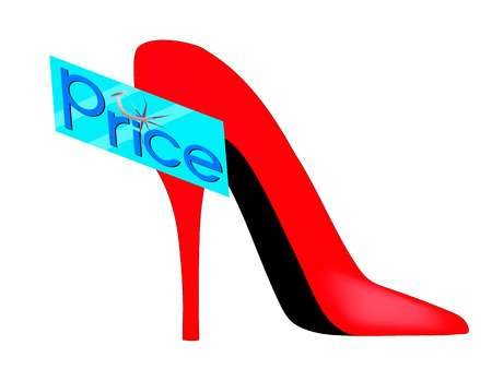 nailed: glass plate price nailed a nail to the red shoe Illustration