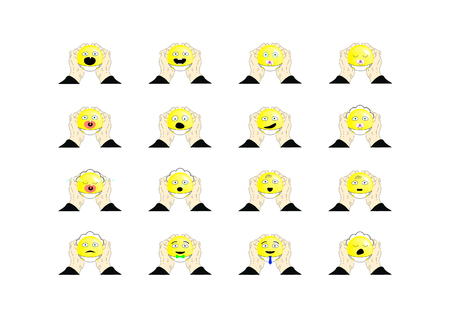 vector illustration of smiley faces on white background Illustration