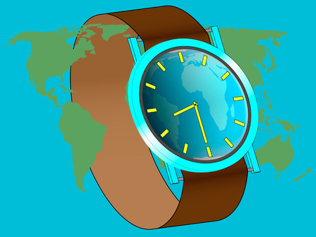 wrist watch: Wrist watch displays the time of the start of earth hour, watches around the world map