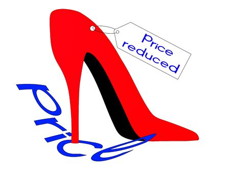 red shoes: Red shoes stepped on the inscription price