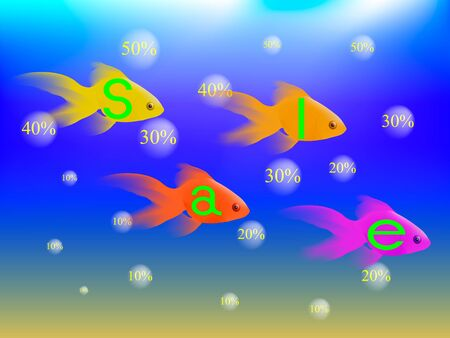 gold fish: Gold fish under water with the word sell, the bubbles rise with numbers