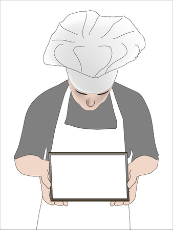 surfing the net: Chef showing empty a tablet with a place for an inscription