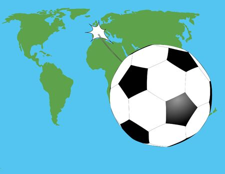 strongly: soccer ball have kicked very strongly and he was flying over the world map Illustration