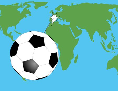 struggled: soccer ball flying over the world map Illustration