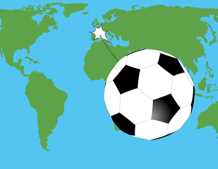 struggled: soccer ball have kicked very strongly and he was flying over the world map Illustration