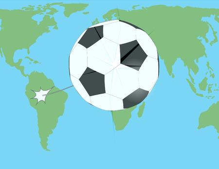 breaks: soccer ball breaks glass over the world map