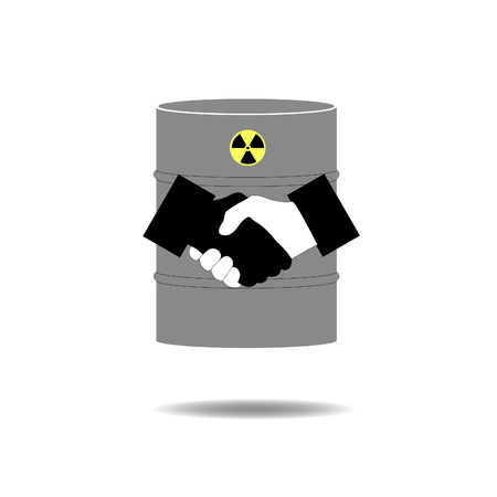 barrels with nuclear waste: handshake on the background of the nuclear casks