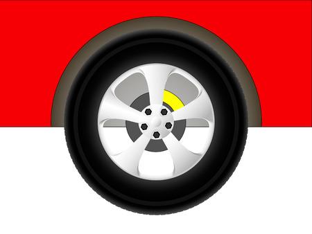 illustration red car wheel symbolizing the service center