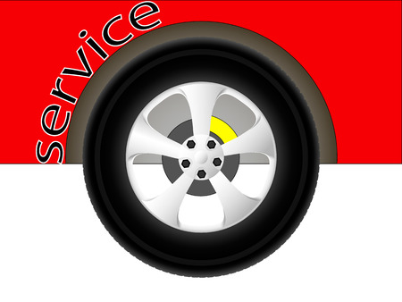 tire fitting: illustration red car wheel symbolizing the service center