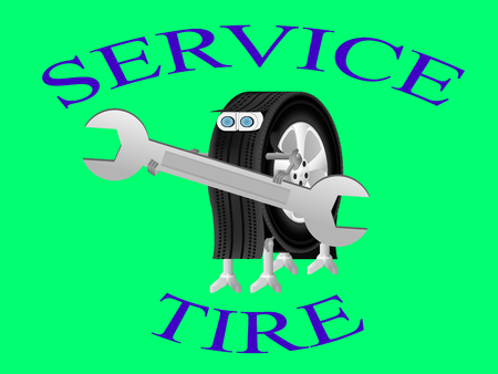 tire fitting: robot holding a wrench, Robot-wheel logo of the service center, robot wheel is engaged in installation of tires on wheels