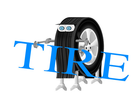 robot holding a wrench, Robot-wheel logo of the service center, robot wheel is engaged in installation of tires on wheels