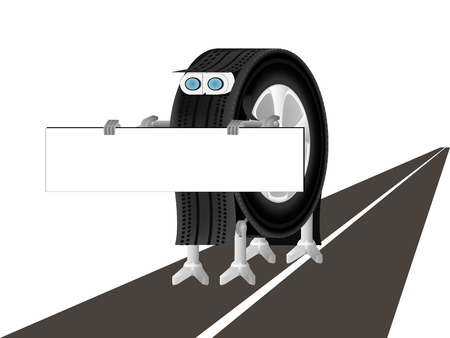 breaking wheel: the robot is on the road and holding a poster Illustration