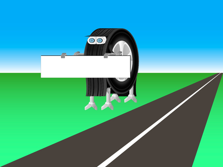 tire fitting: robot is worth next to the road and holding a poster
