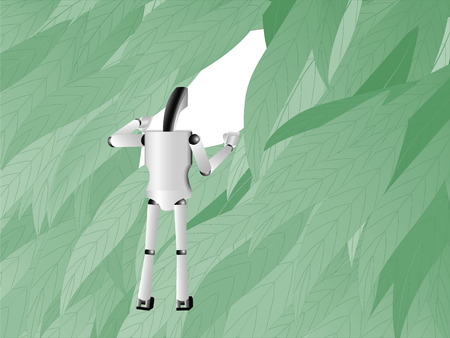 'hide out': robot moves apart leaves and looking through the leaves into the future, illustration Stock Photo