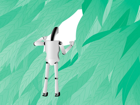 prying: robot moves apart leaves and looking through the leaves into the future, illustration Stock Photo