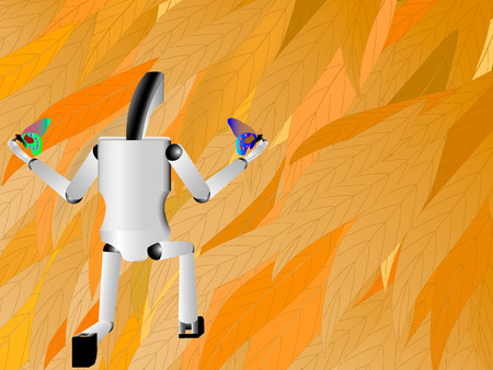 peer: robot hand holds butterfly, robot on a background of nature, technology and nature together, robot stands on one knee and launches butterflies