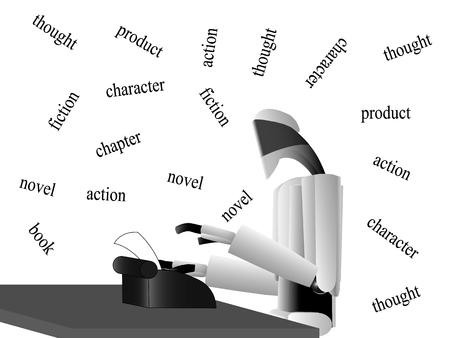 writes: the robot works on a typewriter, Robot writer writes a work of the table, robot works hard to achieve recognition
