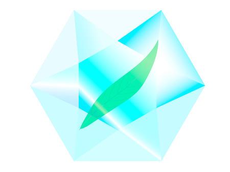 exuberance: green leaf is inside the transparent diamond Illustration