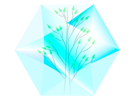 emerald stone: green tree located inside the transparent diamond