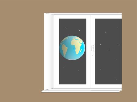 plastic window: planet Earth located behind a plastic window Illustration