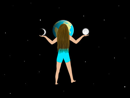 girl stands in front of the planet Earth and holds the moon and moon month Stock Photo