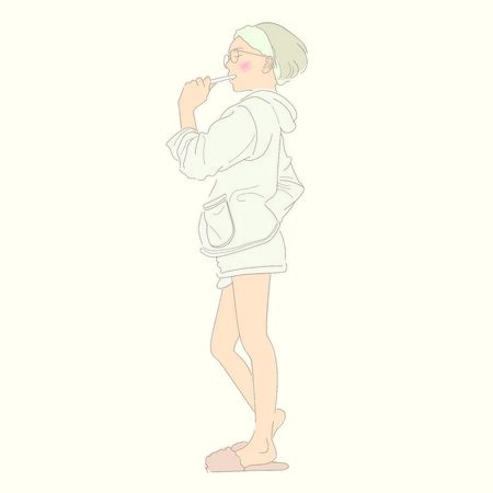 A Woman Brushing Her Teeth After Getting Up. Illustration