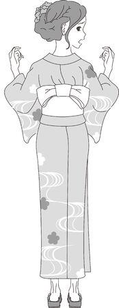 a woman in a summer kimono