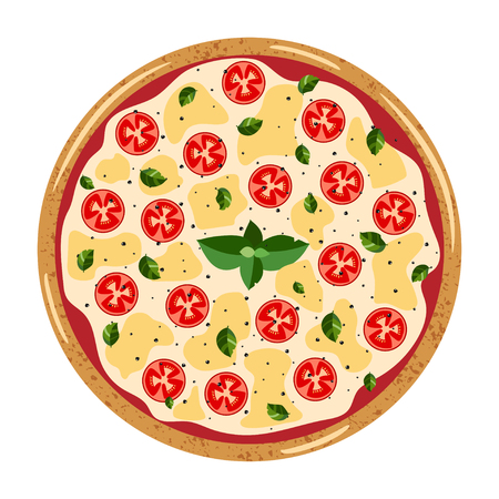 Margarita whole Pizza top view with different ingredients: tomato, mozzarella, basil. Vector illustration isolated on white background. Colorful flat style.