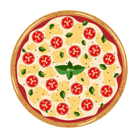 Vue de dessus de la pizza entière Margarita avec différents ingrédients : tomate, mozzarella, basilic. Illustration vectorielle isolée sur fond blanc. Style plat coloré.
