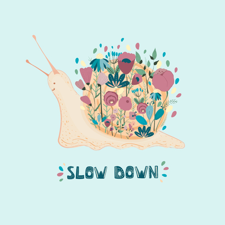 Snail on hand drawn with flowers. Slow down handwritten lettering. Cute snail with a bouquet for a poster, postcards, t-shirt. Flowers and leaves composition. Cute cartoon whale with flowers. Vector