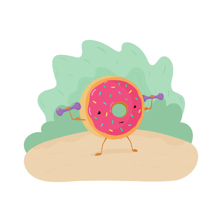 A fun colorful illustration of a donut engaged in fitness. A strong donut with biceps raises dumbbells. Cute poster with pink donut for poster, postcard, clothes, flyers. Vector Ilustração