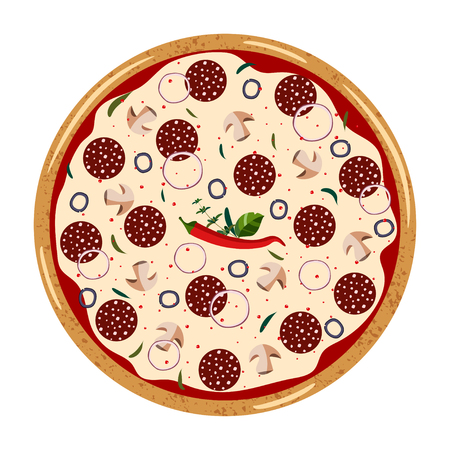 Pepperoni  whole Pizza top view with different ingredients: salami, mushroom, shallot, olive, chili pepper. Vector illustration isolated on white background. Colorful  flat style. 向量圖像