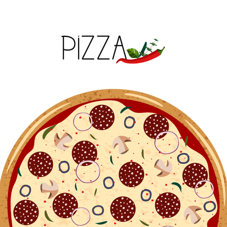 Banner for pizza box. Background with whole pepperoni Pizza, chili peppers.