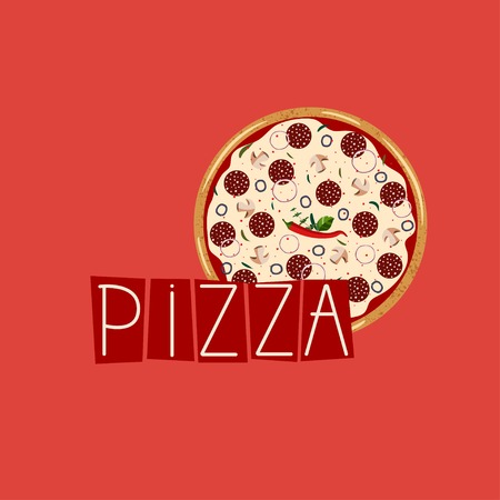 Banner for pizza box. Background with whole pepperoni Pizza. Vector illustration. Colorful  flat style. 向量圖像