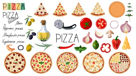 Big set pizza. Traditional different ingredients. Illustration